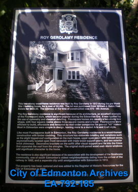 EHB Plaque for the Roy Gerolamy Residence