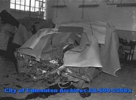 """Two Die in Morinville Crash"".  Car owned by Alta Galbraith."