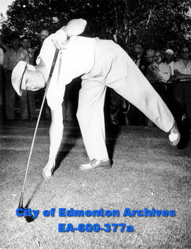 Alberta Open Golf Tournament: Stan Leonard, winner of the tournament, teeing his ball at the 7th ...