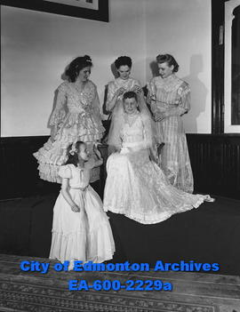 """Bridal Pageant brings back long, long ago"". Standing L-R: Lois Ellen Dean, Vivian Phil..."