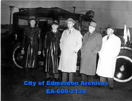 Canadian Pacific Railway company officials at CPR's South Side station while on an inspection tou...