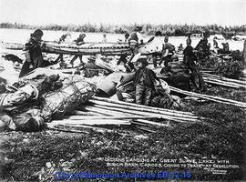 Indians Landing at Great Slave Lake with Birch Bark Canoes, Coming to Trade at Resolution