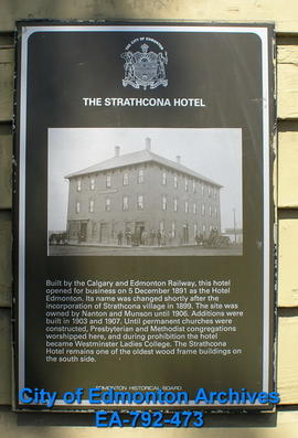 EHB Plaque for Strathcona Hotel