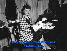 Mrs. P. P. Griffith, provincial secretary of the IODE, after RCMP had searched her files in conne...