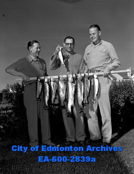Doctors from U.S. on fishing trip. L-R: Frank Kacknicke, Dr. H. Becker and Dr. Walter Straub.