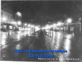 """Ditto"".  Jasper Avenue and 104 Street, looking east. Taken at 8:30 P.M. in November 1933."