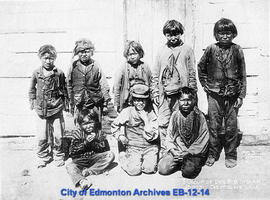 A Group of Dog Rib Indian Boys. Great Slave Lake