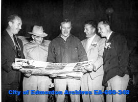 Five visiting U. S. outdoor editors gathering material for their publications. (L-R): Jack Bell (...