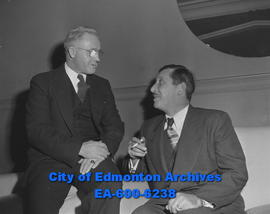 25th anniversary of French Canadian Association: Edmonton president J.M. Fontaine (left) and prov...