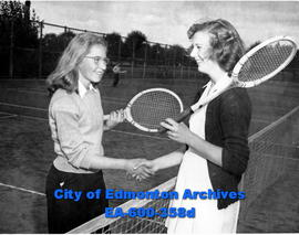 "Junior tennis players in ""Recreation Week"" tournament: (L-R) Eleanore Pepin congratulat..."