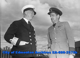 Army surgeons stop over in Edmonton. L-R: Capt. A. McCalhum and Capt. A.A.G. Corbett.