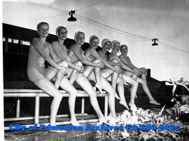 Provincial Swimming Championships at the West End Swimming Pool: water ballet participants, (L-R)...