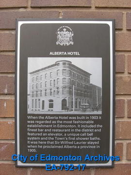 EHB Plaque for Alberta Hotel