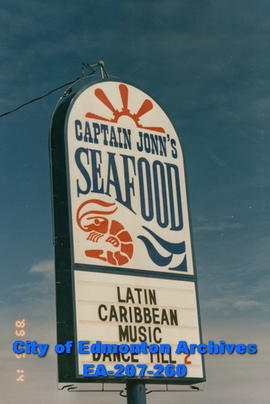 Captain John's Seafood Restaurant sign