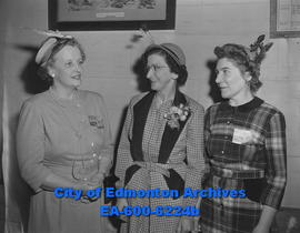 Women's Auxiliary of Social Credit Party: (L-R) Mrs. F.M. Baker, Mrs. F.G. Whittingback and Mrs. ...