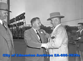 """Half-Hearted Welcome Given Touring Easterners"". Toronto Mayor Hiram ""Buck"" M..."