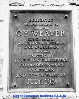 Plaque on Colonel C.Y. Weaver Memorial