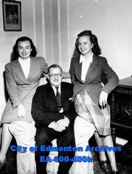 Count Jean de Hauteclocque, French ambassador to Canada, with daughters Jacqueline, left, and Ghi...