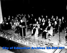 Convocation Hall, University of Alberta fall convocation ceremonies: (L-R, front row) Mr. Justice...