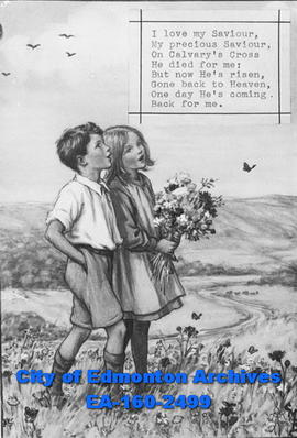 A drawing of a boy and a girl in a field with the hymn, I love my saviour.