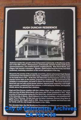 EHB Plaque for Hugh Duncan Residence