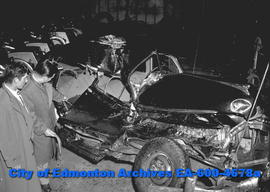 Accident in which two were killed - wreckage of car in which William Howson and Jack Bennyman wer...