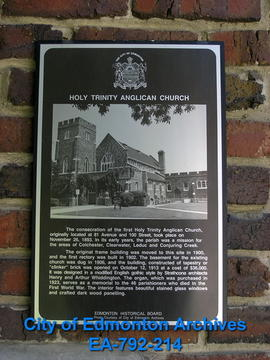 EHB Plaque for the Holy Trinity Anglican Church