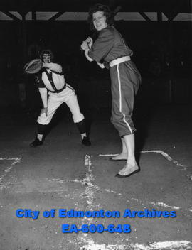 1947 Senior Ladies Fastball League: Edna Squire at bat.