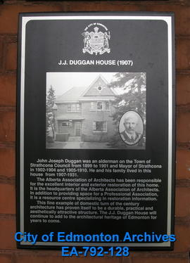 EHB Plaque for J.J. Duggan Residence