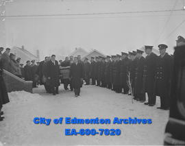Edmonton Police Force form honour guard for Detective J.B. Ariel at entrance of St. Andrew's Church.