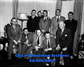 American newsmen visit Edmonton and are entertained by RCAF officials. (L-R, B-T) Allen Funch, Mi...
