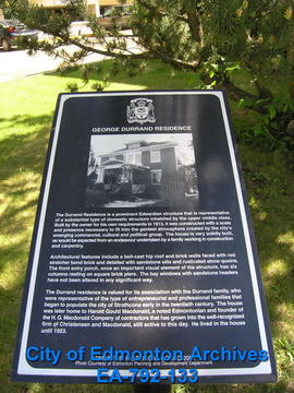 EHB Plaque for George Durrand Residence