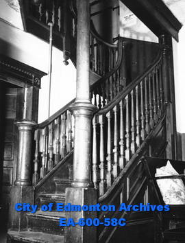 Old wooden staircase in YWCA house.