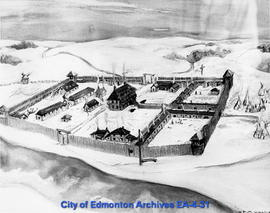 Photograph of Painting of Fort Edmonton by Ella May Walker
