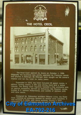 EHB Plaque for the Hotel Cecil