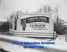 ITU sign reads that Edmonton Journal is unfair to union workers.