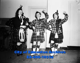Vaudeville fun for women curlers. Dancers with bag pipes.