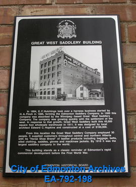 EHB Plaque for the Great West Saddlery Building