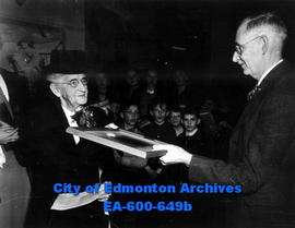 A steel engraving of Dr. William Morrison MacKay is presented to MacKay Avenue School by the Dr. ...