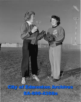 Women's Fastball - Morton players. L-R: Edna Squires and Polly Spotowski.