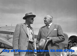 Top Imperial Oil executives visit Edmonton. M.L. Haider, director and vice-president, and S.L. St...