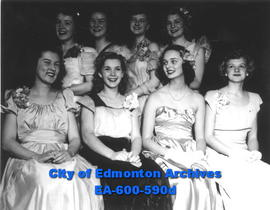 "Competitors in the ""Miss Edmon-Teen of 1948"" contest: (L-R, T-B) Audrey Phillips, Barba..."