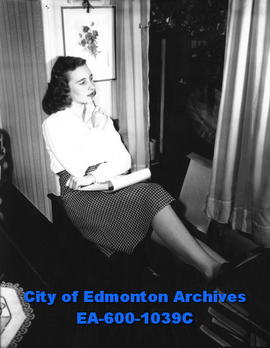 Miss Edmonton of 1948, Joan Farley, sketching.