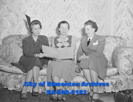 Alberta Liberal Women's convention: (L-R) Mrs. Kenneth Montgomery, Mrs. C.R. de la Vergne and Mrs. Archie Boyce.