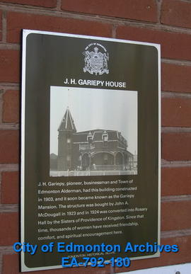 EHB Plaque for J.H. Gariepy House