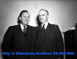 "(L-R) Stan Moher replaces Harold ""Hal"" Dean as sports editor of The Edmonton Bulletin n..."