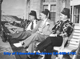 "(L-R): Percy Frazer, H. J. A. Evans and Ted Dial, attending the Shriners' ""Gateway to the No..."