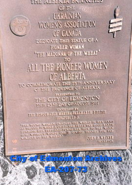 Ukrainian Women's Association of Canada - plaque