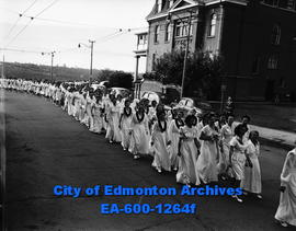 Elk Convention:  24th Convention of the Royal Order of the Purple; Ladies marching in white dress...