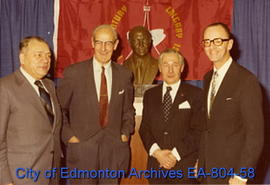 Unveiling of Grant MacEwan bust at Calgary City Hall
